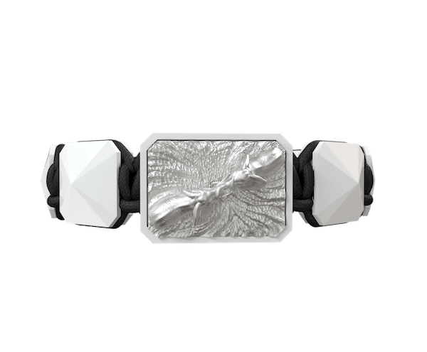 Shop Forever in my Heart bracelet with white ceramic and sculpture finished in a Platinum effect complemented with a black coloured cord.