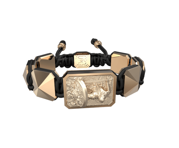 Shop I Will Fight till the End bracelet with ceramic and sculpture finished in 18k Rose Gold complemented with a black coloured cord.