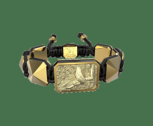 Comprar Pulsera Miss You con cerámica y escultura acabadas en Oro Amarillo de 18k. Hilo negro.
