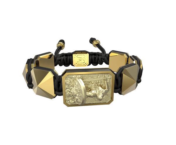 Comprar Pulsera I Will Fight till the End con cerámica y escultura acabadas en Oro Amarillo de 18k. Hilo negro.