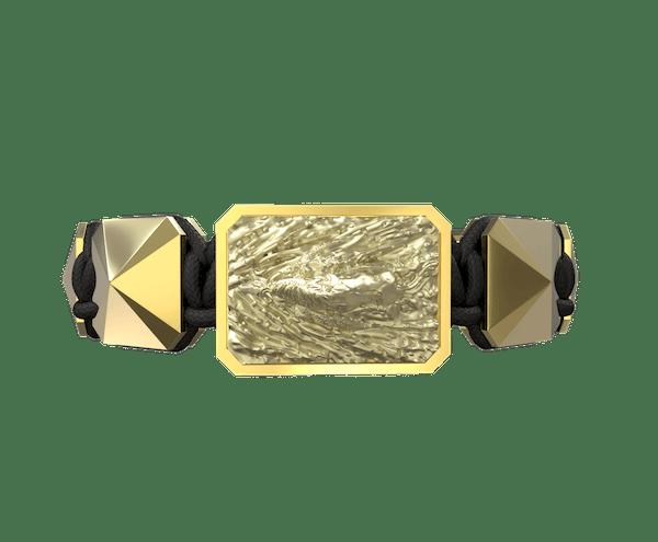 Comprar Pulsera I'm Different con cerámica y escultura acabadas en Oro Amarillo de 18k. Hilo negro.
