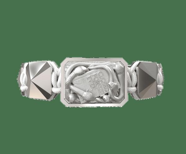 Comprar Pulsera I Quit con cerámica y escultura acabadas en efecto Platino. Hilo blanco.