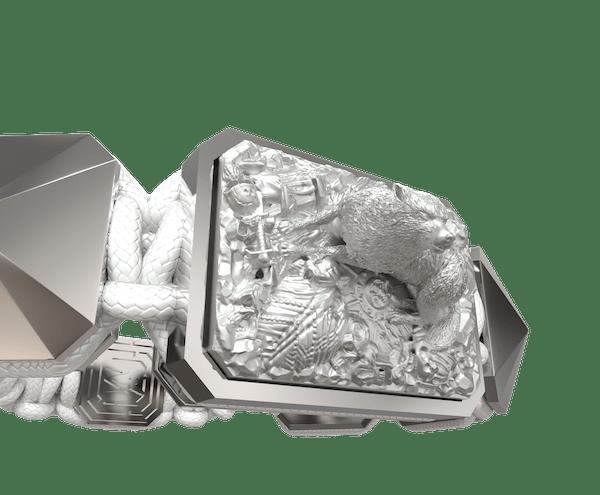 Comprar Pulsera Selfmade con cerámica y escultura acabadas en efecto Platino. Hilo blanco.