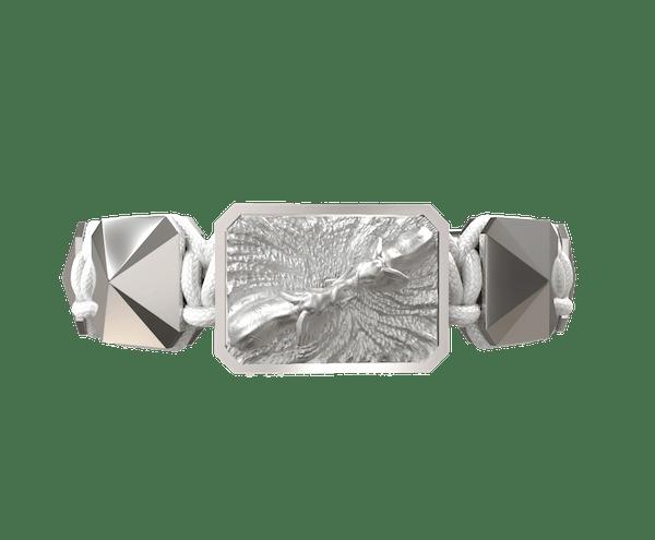 Comprar Pulsera Forever In My Heart con cerámica y escultura acabadas en efecto Platino. Hilo blanco.