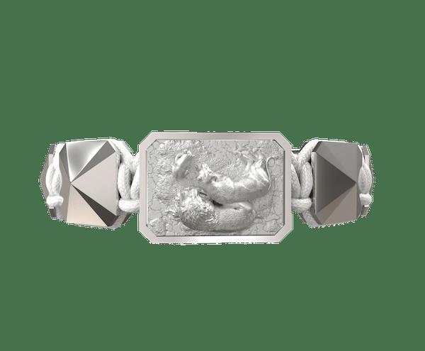 Comprar Pulsera My Family First con cerámica y escultura acabadas en efecto Platino. Hilo blanco.