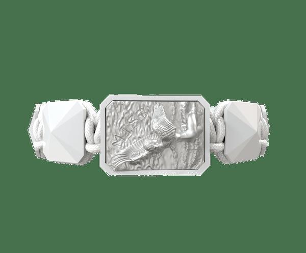 Comprar Pulsera Miss You con cerámica blanca y escultura acabada en efecto Platino. Hilo blanco.