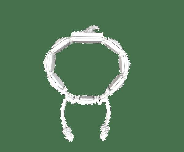 Comprar Pulsera I'm Different con cerámica blanca y escultura acabada en efecto Platino. Hilo blanco.