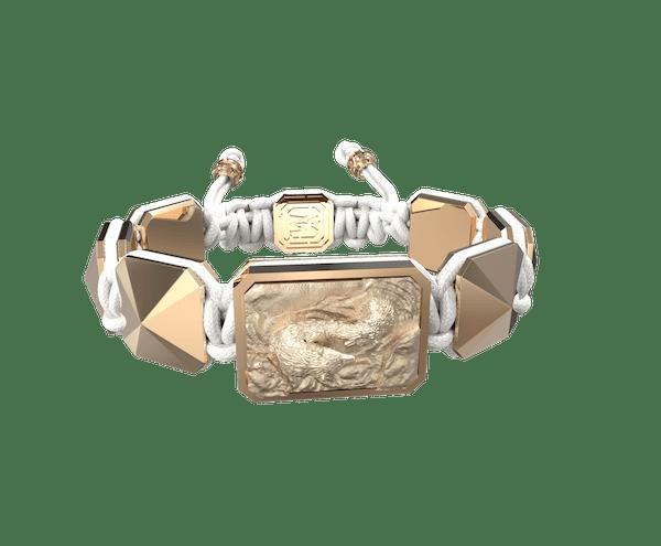 Comprar Pulsera Proud Of You con cerámica y escultura acabadas en Oro Rosa de 18k. Hilo blanco.