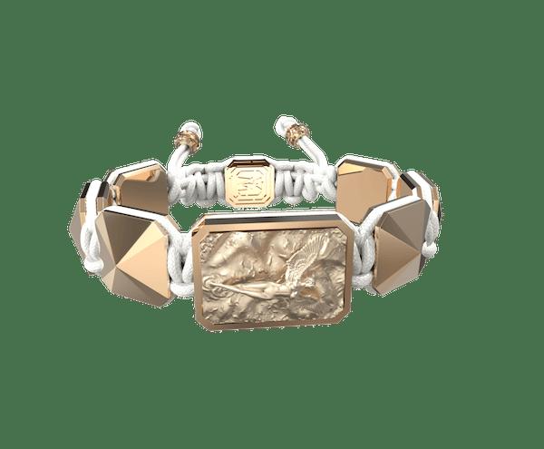 Comprar Pulsera I Love Me con cerámica y escultura acabadas en Oro Rosa de 18k. Hilo blanco.