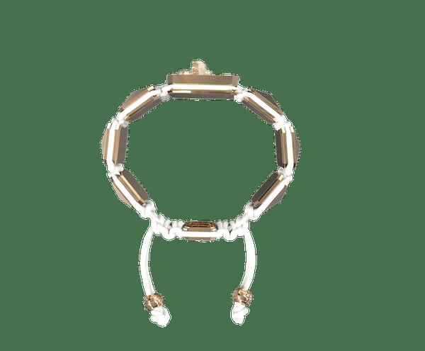 Comprar Pulsera Miss You con cerámica y escultura acabadas en Oro Rosa de 18k. Hilo blanco.