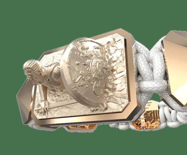 Comprar Pulsera I Will Fight till the End con cerámica y escultura acabadas en Oro Rosa de 18k. Hilo blanco.