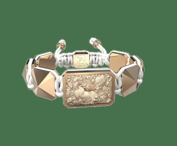 Comprar Pulsera Selfmade con cerámica y escultura acabadas en Oro Rosa de 18k. Hilo blanco.