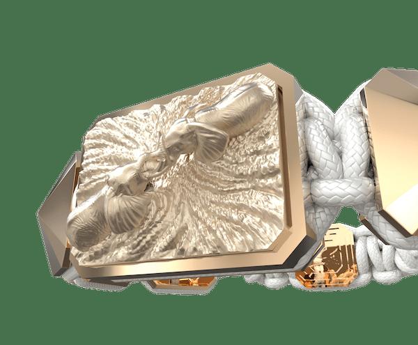 Comprar Pulsera Forever In My Heart con cerámica y escultura acabadas en Oro Rosa de 18k. Hilo blanco.