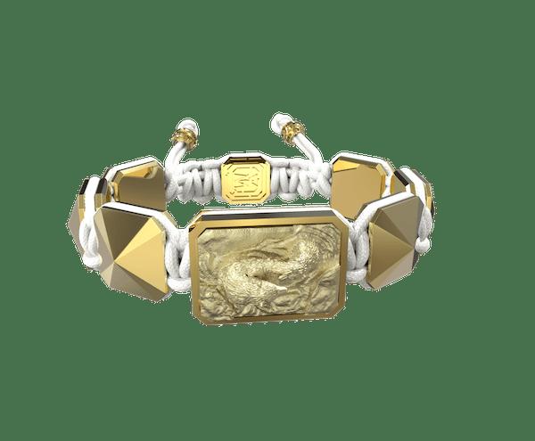 Comprar Pulsera Proud Of You con cerámica y escultura acabadas en Oro Amarillo de 18k. Hilo blanco.