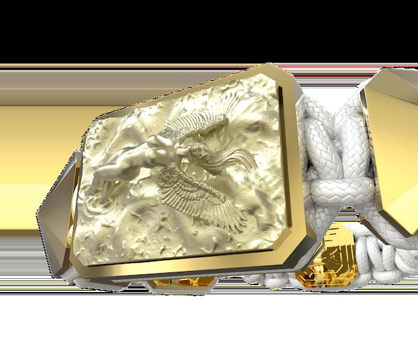 Comprar Pulsera I Love Me con cerámica y escultura acabadas en Oro Amarillo de 18k. Hilo blanco.