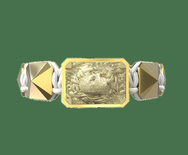 Comprar Pulsera I Love My Baby con cerámica y escultura acabadas en Oro Amarillo de 18k. Hilo blanco.