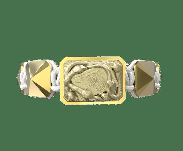 Comprar Pulsera I Quit con cerámica y escultura acabadas en Oro Amarillo de 18k. Hilo blanco.