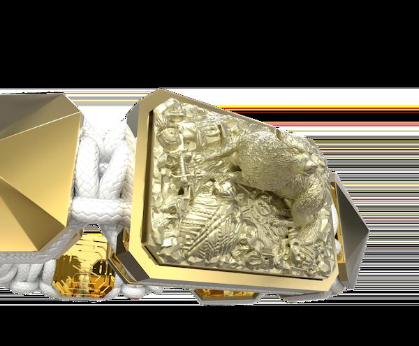 Comprar Pulsera Selfmade con cerámica y escultura acabadas en Oro Amarillo de 18k. Hilo blanco.