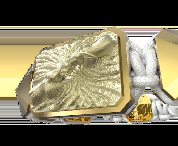 Comprar Pulsera Forever In My Heart con cerámica y escultura acabadas en Oro Amarillo de 18k. Hilo blanco.
