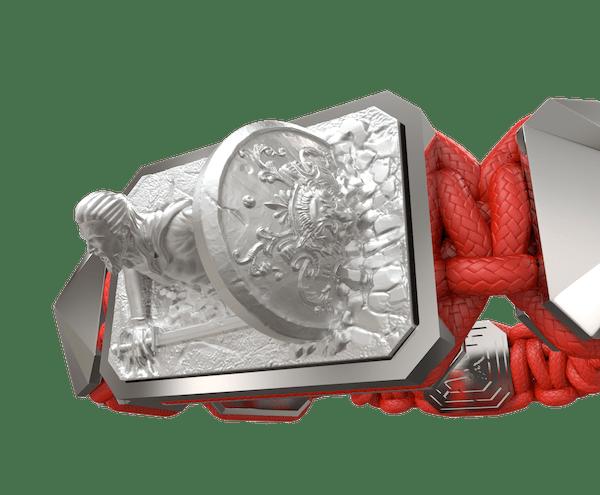 Comprar Pulsera I Will Fight till the End con cerámica y escultura acabadas en efecto Platino. Hilo rojo.