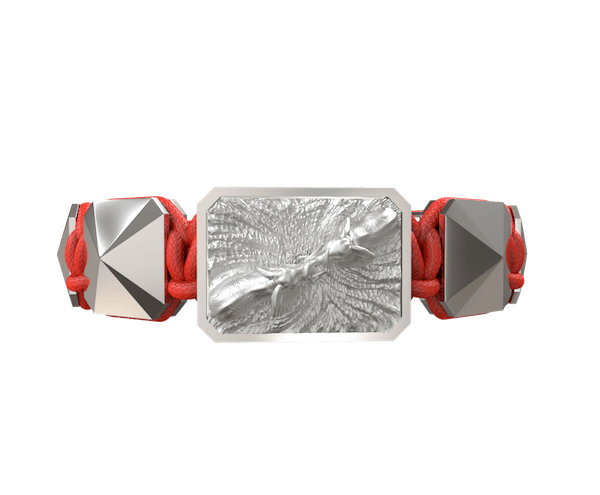 Shop Forever In My Heart bracelet with ceramic and sculpture finished in a Platinum effect complemented with a red coloured cord.