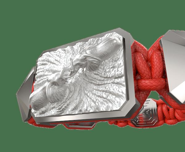 Comprar Pulsera Forever In My Heart con cerámica y escultura acabadas en efecto Platino. Hilo rojo.