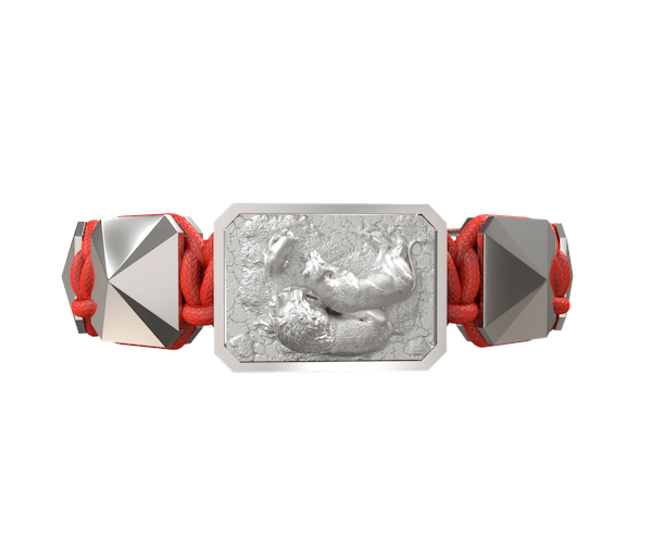 Shop My Family First bracelet with ceramic and sculpture finished in a Platinum effect complemented with a red coloured cord.