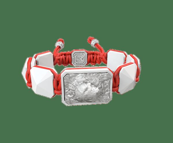 Comprar Pulsera I Love My Baby con cerámica blanca y escultura acabada en efecto Platino. Hilo rojo.