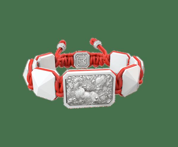 Comprar Pulsera Selfmade con cerámica blanca y escultura acabada en efecto Platino. Hilo rojo.