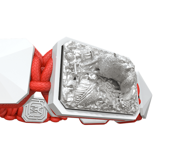 Shop Selfmade bracelet with white ceramic and sculpture finished in a Platinum effect complemented with a red coloured cord.