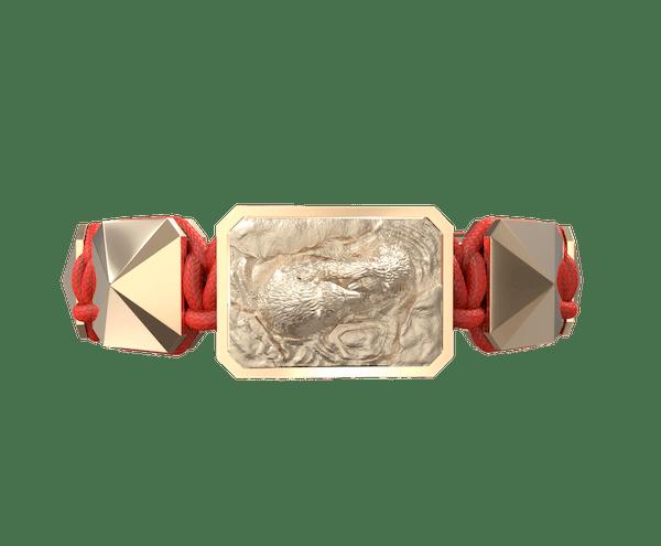 Comprar Pulsera Proud Of You con cerámica y escultura acabadas en Oro Rosa de 18k. Hilo rojo.