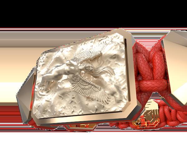 Comprar Pulsera I Love Me  con cerámica y escultura acabadas en Oro Rosa de 18k. Hilo rojo.