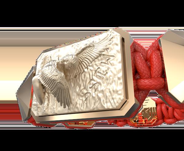 Comprar Pulsera Miss You con cerámica y escultura acabadas en Oro Rosa de 18k. Hilo rojo.