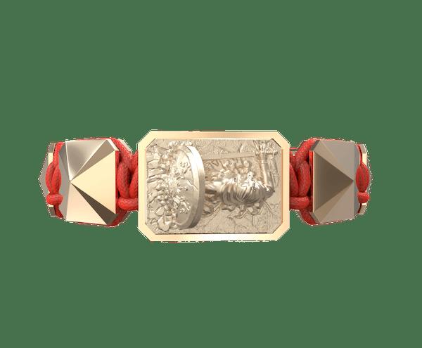 Comprar Pulsera I Will Fight till the End con cerámica y escultura acabadas en Oro Rosa de 18k. Hilo rojo.