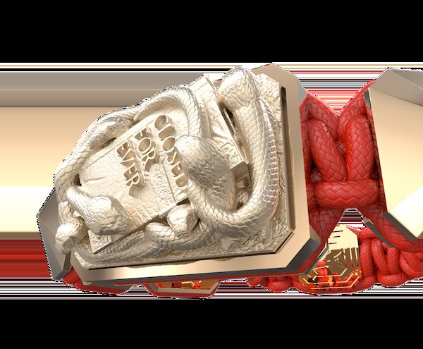 Comprar Pulsera I Quit con cerámica y escultura acabadas en Oro Rosa de 18k. Hilo rojo.