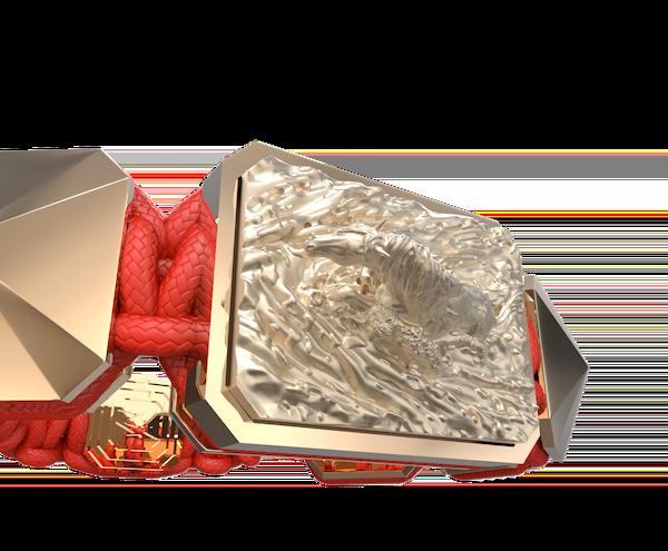 Comprar Pulsera I'm Different con cerámica y escultura acabadas en Oro Rosa de 18k. Hilo rojo.