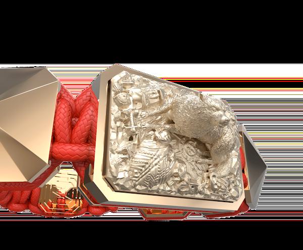 Comprar Pulsera Selfmade con cerámica y escultura acabadas en Oro Rosa de 18k. Hilo rojo.