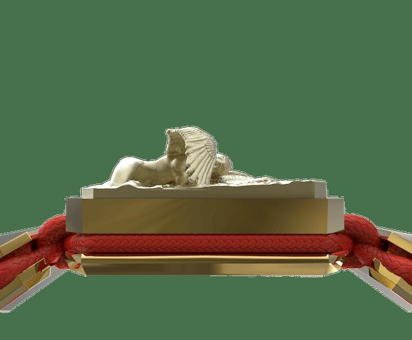 Comprar Pulsera Miss You con cerámica y escultura acabadas en Oro Amarillo de 18k. Hilo rojo.