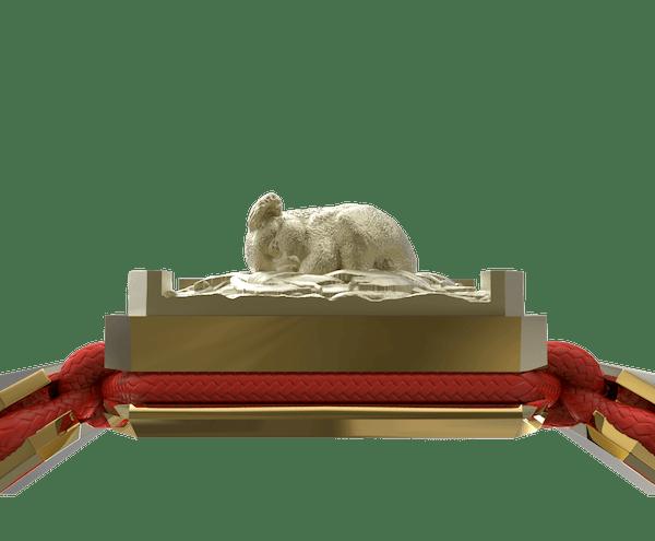 Comprar Pulsera I Love My Baby con cerámica y escultura acabadas en Oro Amarillo de 18k. Hilo rojo.