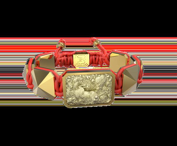 Comprar Pulsera Selfmade con cerámica y escultura acabadas en Oro Amarillo de 18k. Hilo rojo.