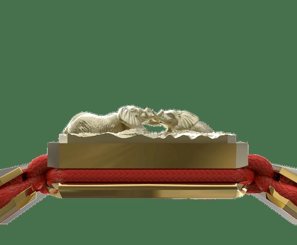 Comprar Pulsera Forever In My Heart con cerámica y escultura acabadas en Oro Amarillo de 18k. Hilo rojo.