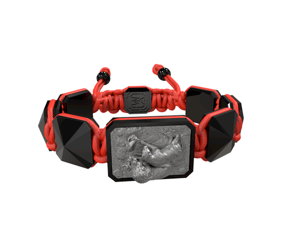 Shop My Family First bracelet with black ceramic and sculpture finished in anthracite color complemented with a red coloured cord.