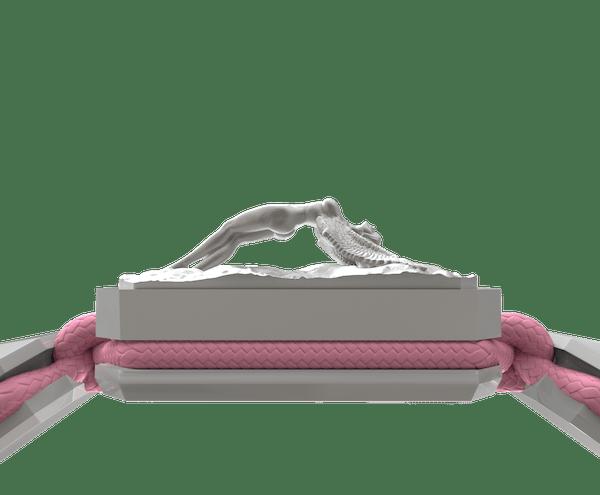 Comprar Pulsera I Love Me con cerámica blanca y escultura acabada en efecto Platino. Hilo rosa.