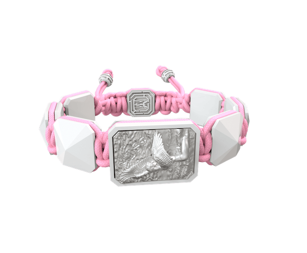 Shop Miss You bracelet with white ceramic and sculpture finished in a Platinum effect complemented with a pink coloured cord.