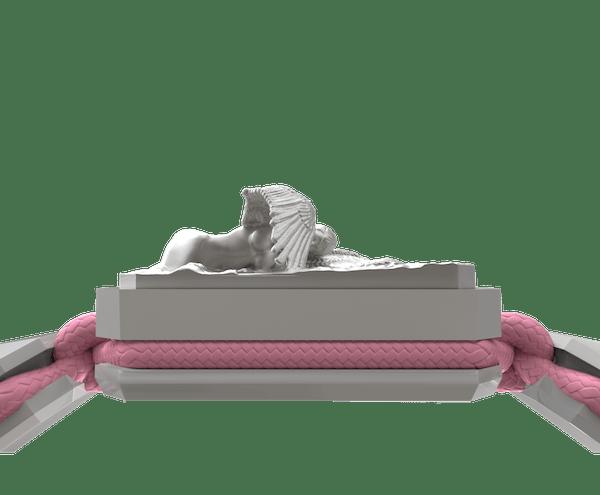 Comprar Pulsera Miss You con cerámica blanca y escultura acabada en efecto Platino. Hilo rosa.