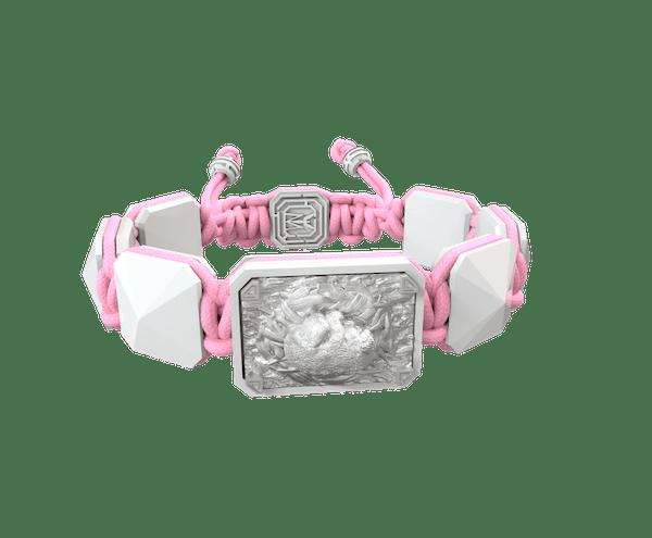 Comprar Pulsera I Love My Baby con cerámica blanca y escultura acabada en efecto Platino. Hilo rosa.