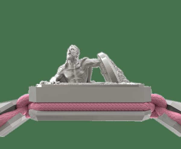 Comprar Pulsera I Will Fight till the End con cerámica blanca y escultura acabada en efecto Platino. Hilo rosa.