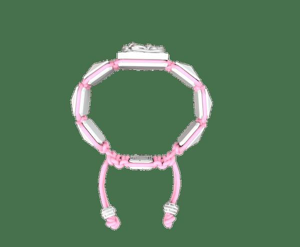 Comprar Pulsera I Quit con cerámica blanca y escultura acabada en efecto Platino. Hilo rosa.