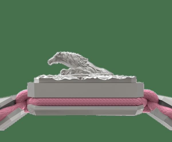Comprar Pulsera I'm Different con cerámica blanca y escultura acabada en efecto Platino. Hilo rosa.