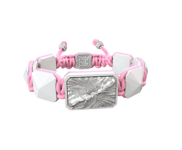 Shop Forever In My Heart bracelet with white ceramic and sculpture finished in a Platinum effect complemented with a pink coloured cord.